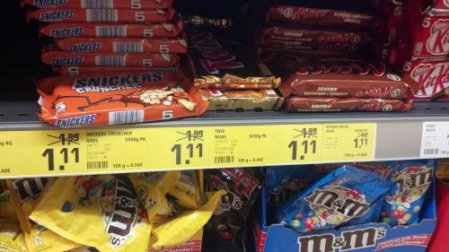 5er Snickers, Twix oder Mars bei Rewe für 1,11 EUR