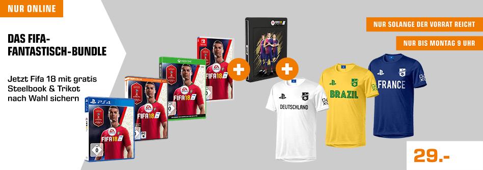Fifa 18 + Steelbook + Playstation Trikot oder statt Steelbook zwei Trikots für 29€ [Saturn]