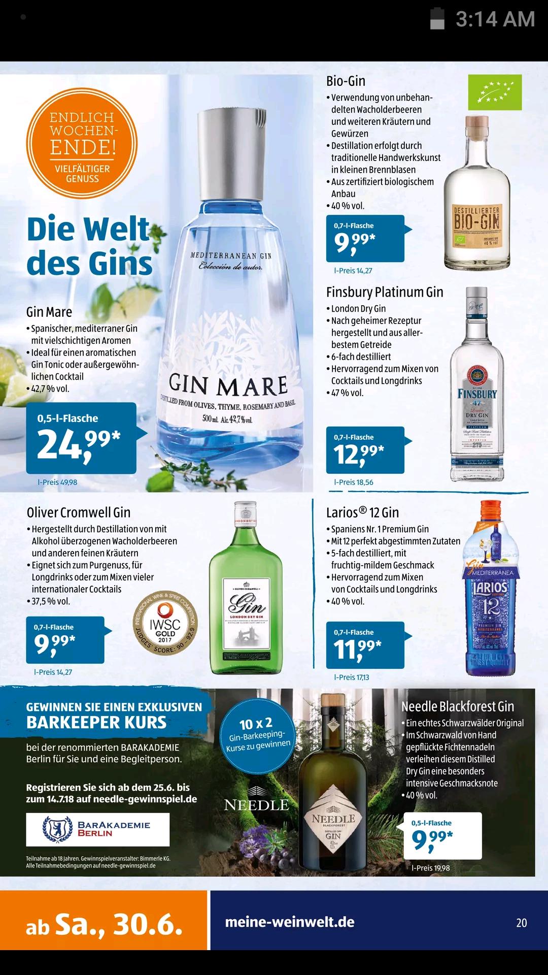 Aldi Süd Gin Mare 0,5l ab dem 30.06