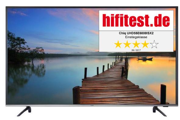 [nbb] CHiQ UHD 55 E6000 ISX2 - 55 Zoll 4K UHD Fernseher (Smart TV, WLAN, Triple Tuner mit DVB T2, HDR, USB) für 369,99€ bzw. 349€ (bei Masterpass-Zahlung)