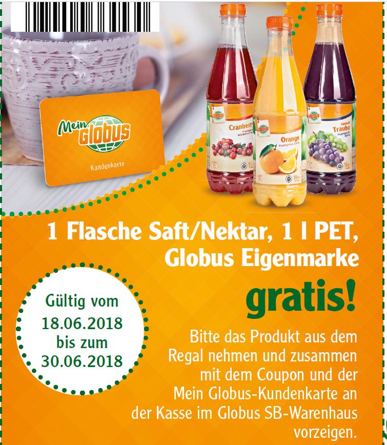 [Globus Freebie] 1 Flasche Saft/Nektar gratis (mit Globus Kundenkarte)