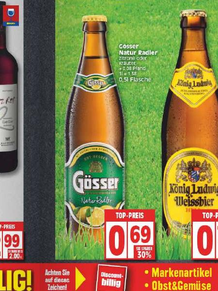 [EDEKA Berlin] Gösser Natur Radler 0,5l Zitrone (auch Kräuter) für nur 0,69 €
