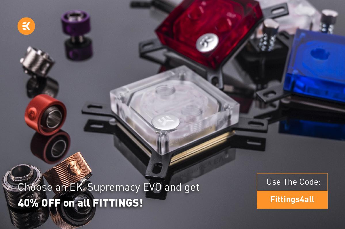 EK-Supremacy EVO CPU Wasserküher kaufen und 40% Nachlass auf EK Fittings bekommen.