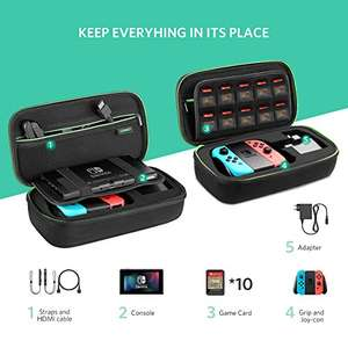 UGREEN Tasche für Nintendo Switch Zubehör Tasche stoßfest Zubehör Case Tragetasche Switch Hülle Schutz Tasche für Nintendo Switch Konsole, 10 Spiele und anderes Zubehör, schwarz