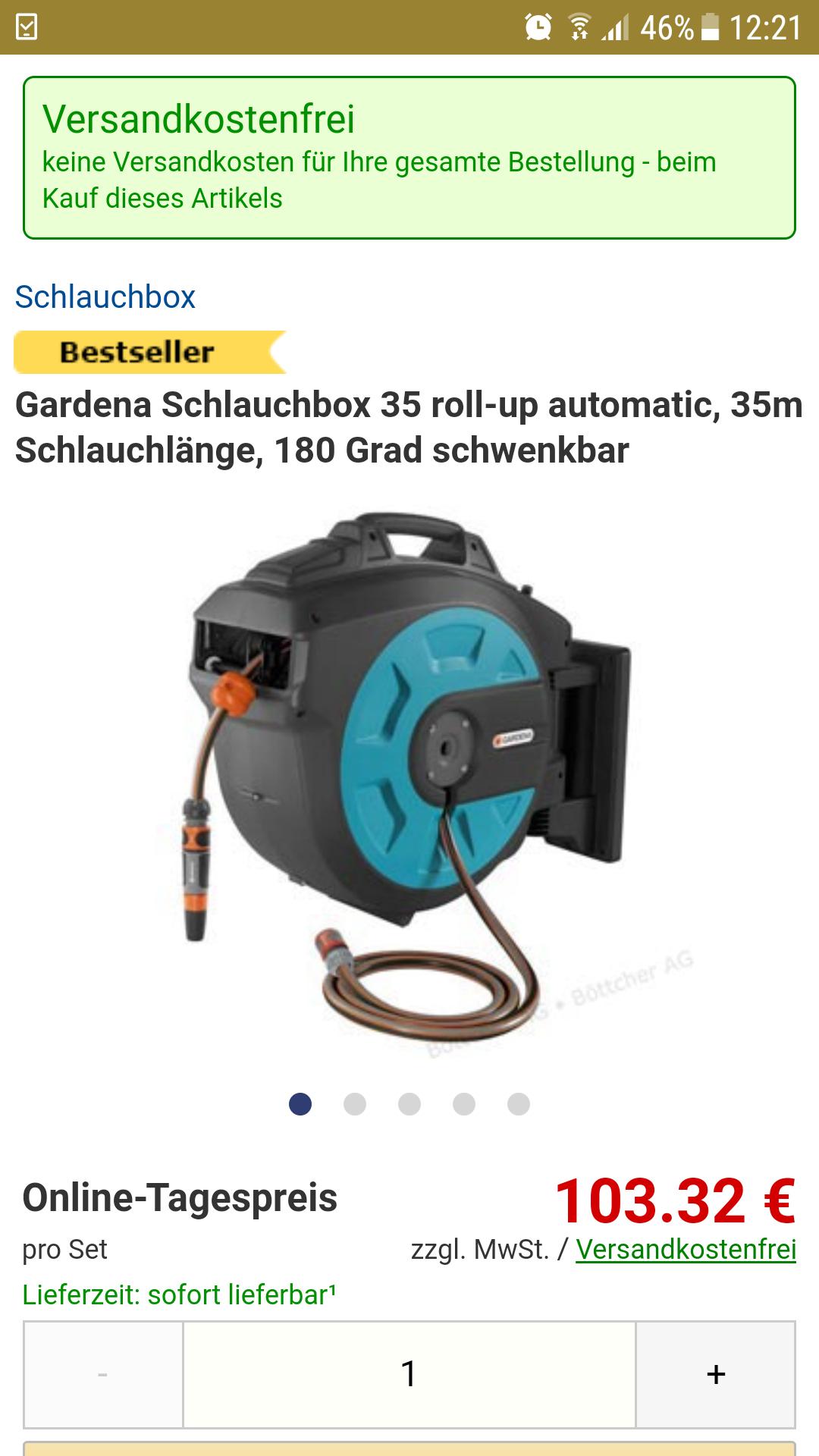 Gardena Schlauchbox 35 roll-up automatic, 35m Schlauchlänge, 180 Grad schwenkbar