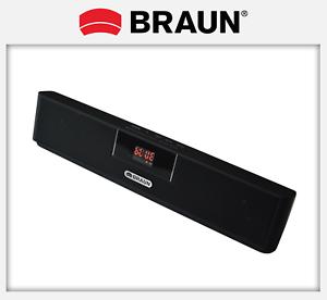 (eBay) Portabler BRAUN Lautsprecher: Bluetooth / microSD (mp3/wav/wma) / AUX / FM
