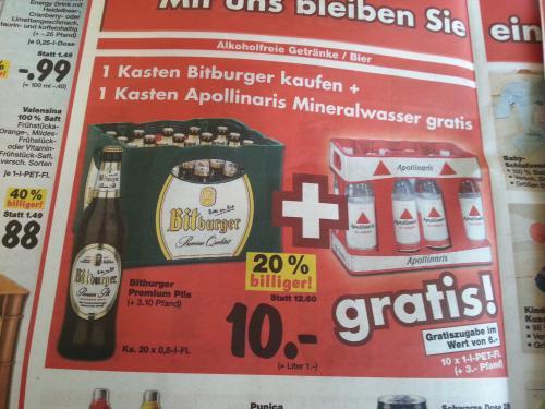 Kaufland - 1 Kasten Bitburger 0,5l für 10 € + 1 Kasten Apollinaris gratis!