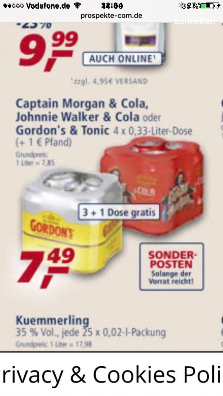 4 x Captain Morgan oder Gordon's Tonic beim schwarzen Netto