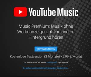 3 Monate kostenlos – YouTube Music RED/YouTube Premium (inkl. Google Play Music)
