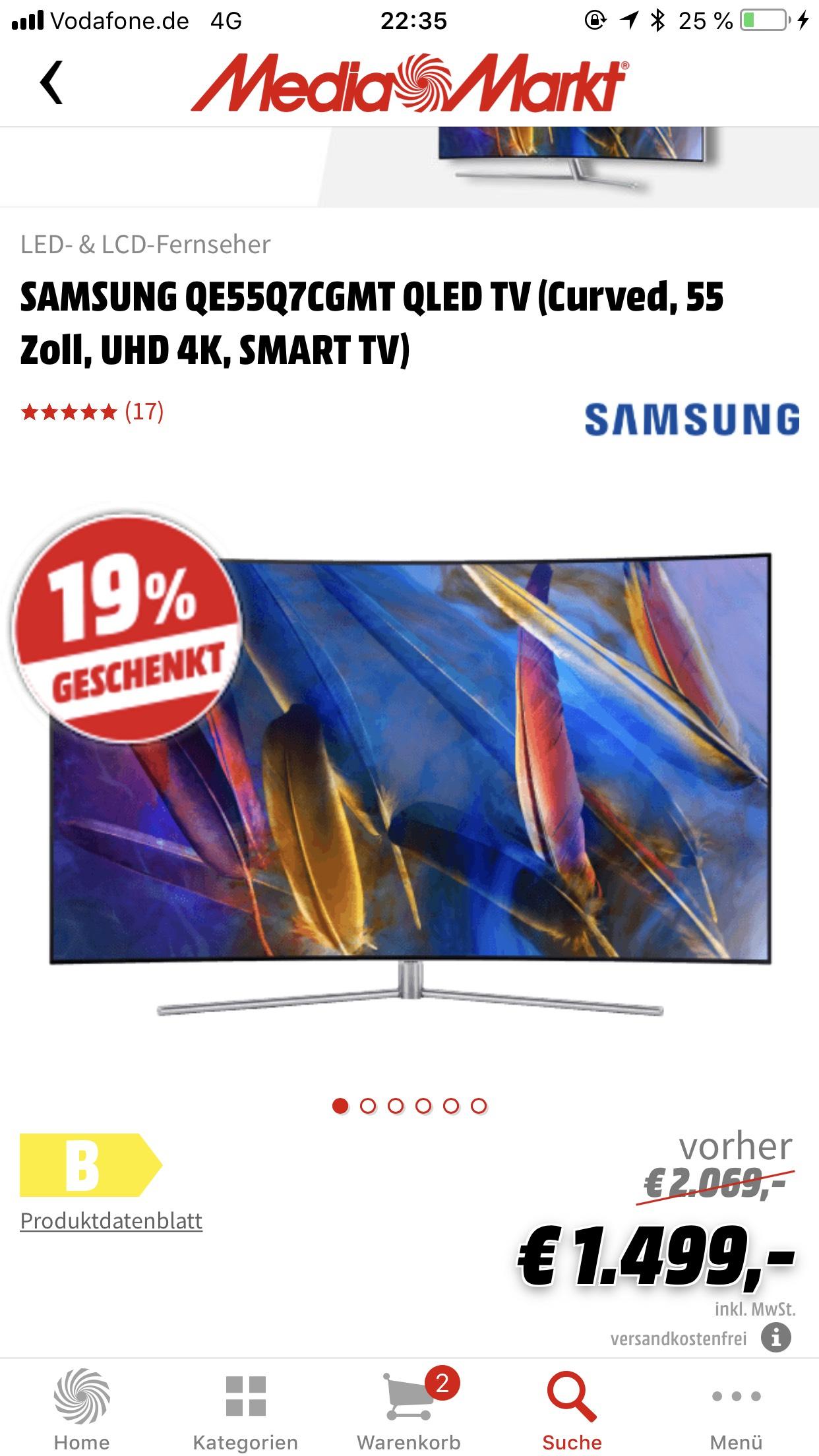 Samsung QLED QE55Q7C Media Röhrsdorf 1053 Euro