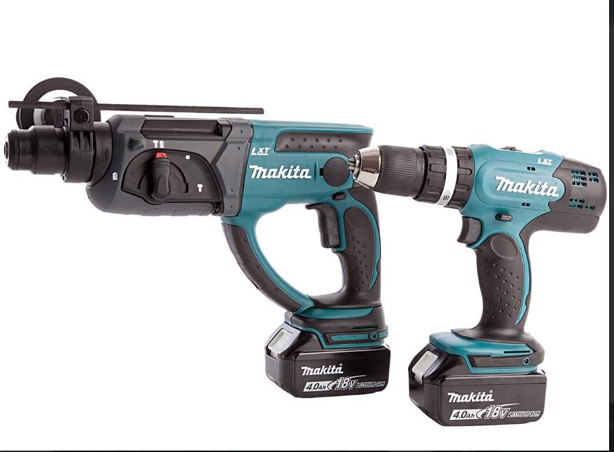 Makita Kombi Bohrmaschine DHP453 18V und Bohrhammer DHR202 18V + 2x 4,0 ah Akkus