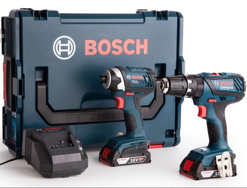 Bosch Professional Combi Drill (GSB 18-2 Li-Plus) und Schlagschrauber (GDR18-LI) mit 2 x 2,0 Ah Akku, Ladegerät und Koffer