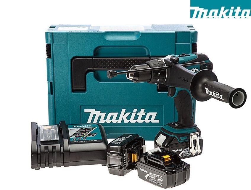 Makita Li-Ion Bohrschrauber DHP458RF3J inkl. 3x 3,0 ah Akkus, sowie Ladegerät und Koffer
