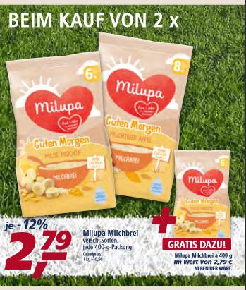 [real] Milupa, Milchbrei (versch. Sorten, 3x400g) 1kg = 4,65€