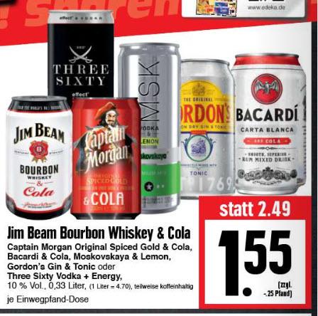 Jim Beam & Cola, Captain Morgen & Cola, Bacardi & Cola, Gordons Gin & Tonic und weitere je 330ml Dose @ Edeka Hessenring