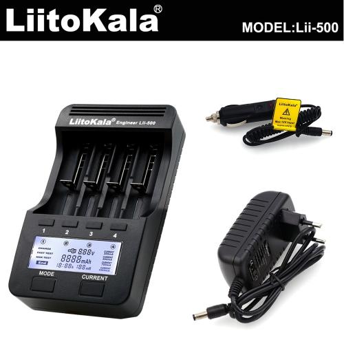 LiitoKala!!!! Lii-500 4 Slots LCD Smartest Ladegerät-Kit mit Kfz-Ladegerät EU-Adapter