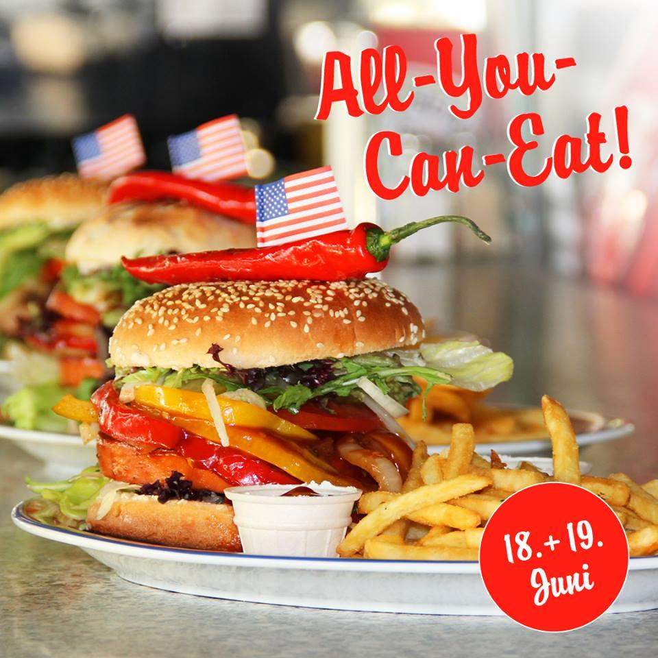 Angus Burger All You Can Eat für 14,95€ bei Miss Pepper American Restaurants am 18. & 19.06.2018