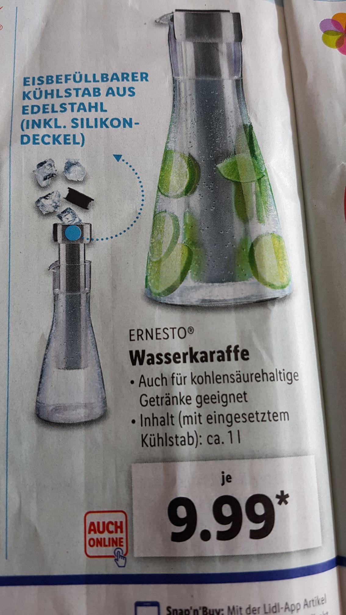 Lidl Wasserkaraffe mit Kühlstab [Bundesweit] ab 28.6 offline ohne Versandkosten online mit Versandkosten