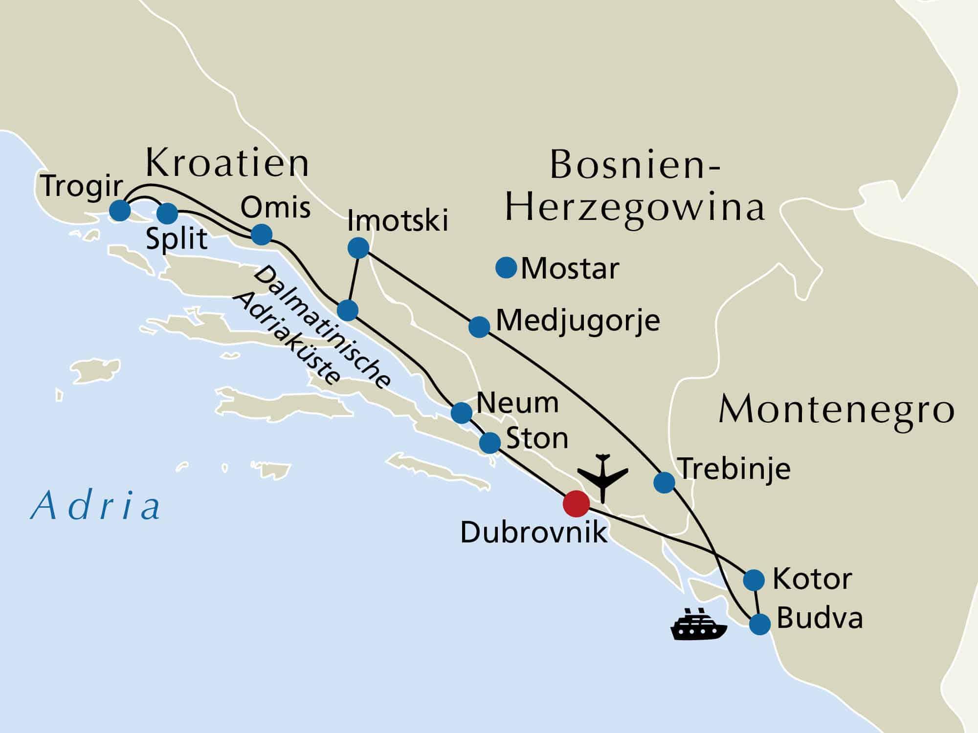 8 Tage 4 -Sterne-Studienreise Kroatien & Montenegro 199,-€ p.P.