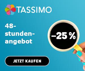 48 Stunden lang 25% Rabatt auf alle Getränke bei Tassimo ab 50€