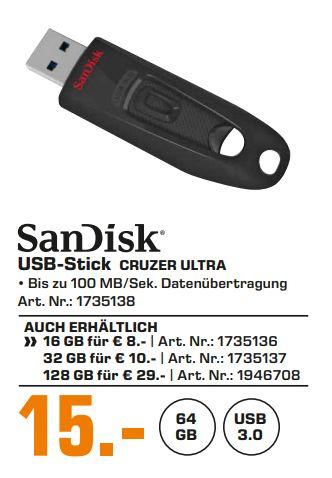 [Regional Saturn Hamburg /Norderstedt-Alle Märkte ab 20.06] SanDisk USB-Stick Ultra 3.0 mit 64GB für 15,-€ // mit 128GB für 29,-€