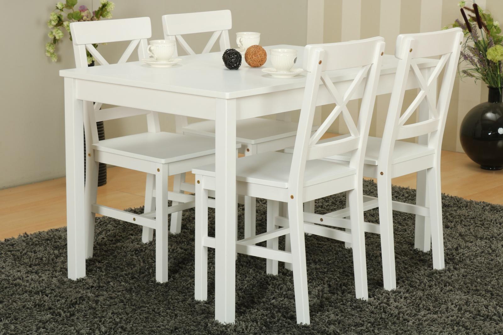 [dynamic24@dealclub] Kiefer Landhaus Essgruppe Tisch 4 Stühle Stuhl Sitzgruppe Küche Esstisch weiß