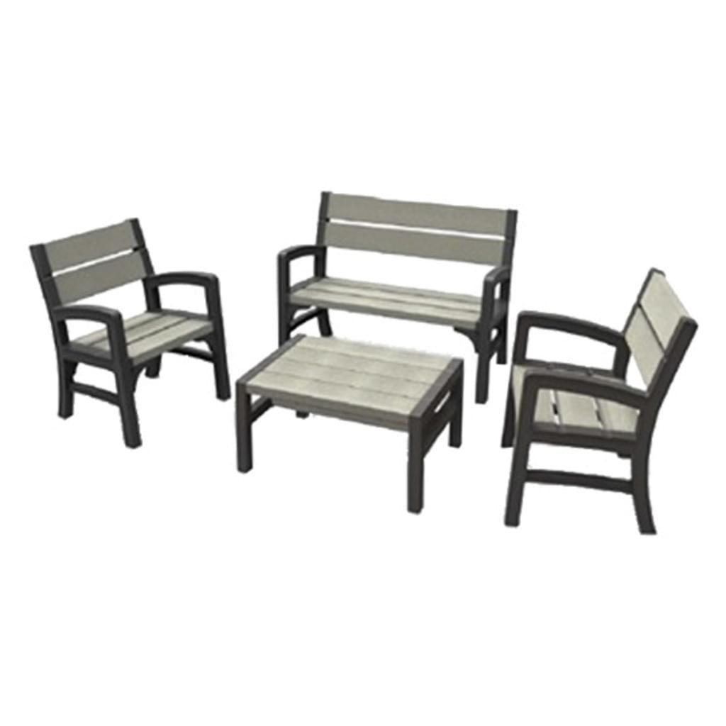 Kunststoff Sitzmöbelset in Holzoptik Grau/Schwarz, streichfähig