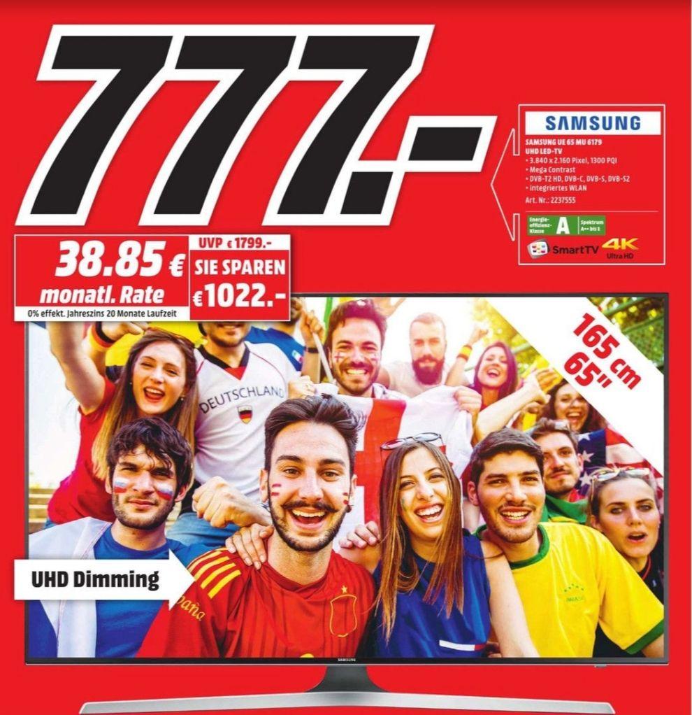 [Lokal MediaMarkt NeubrandenburgNeubrandenburg] Samsung UHD TV 65 MU 6179 für nur 777€ am Freitag 22.06. (viele weitere Angebote)