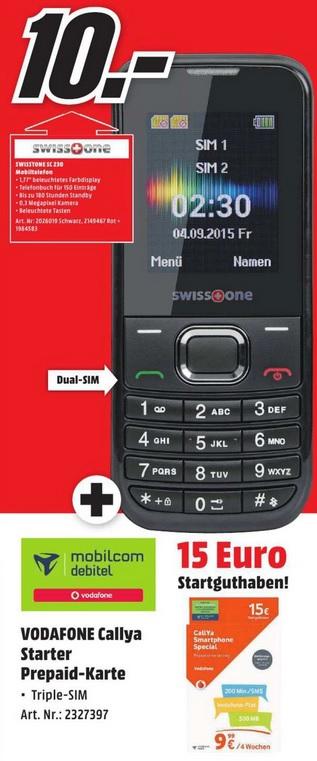 [ lokal Bayern ] SWISSTONE SC 230 + Vodafone CallYa Starterkarte mit 15€ Guthaben für 10€ @ Media Markt