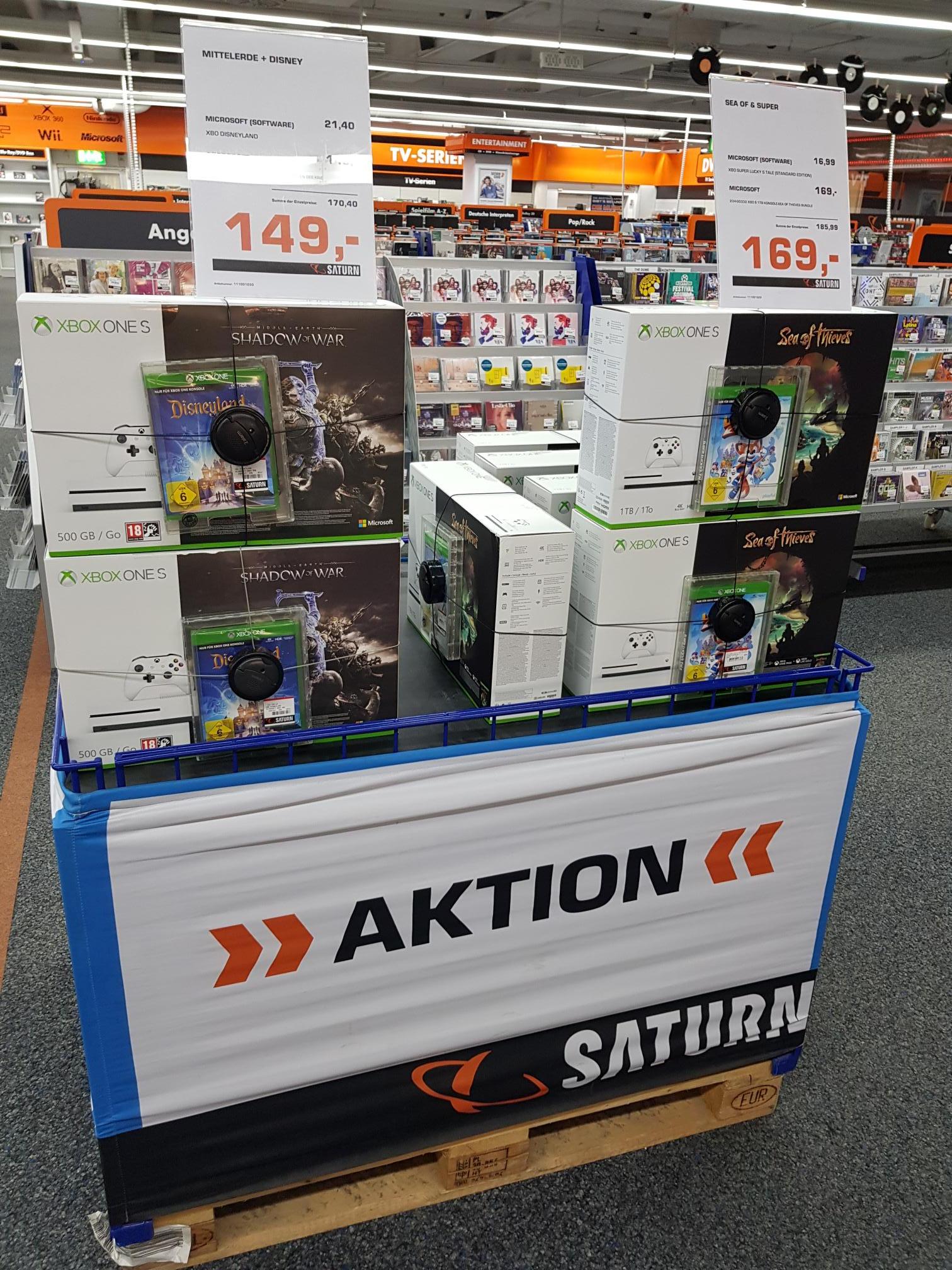 Xbox One S + 2. Spiel ab 149 € bei Saturn München Theresienhöhe