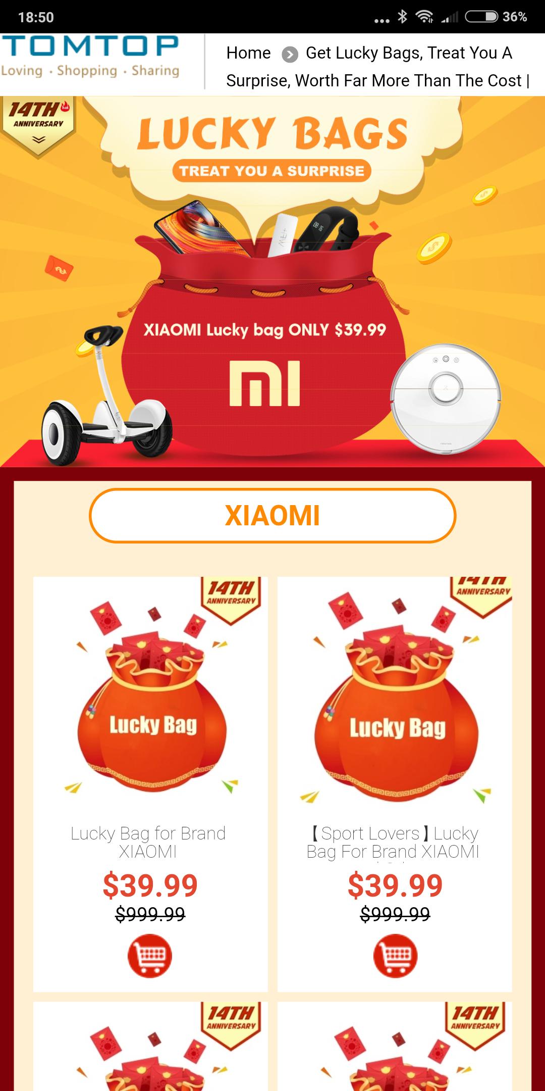 Lucky Bags ( auch Xiaomi) zum 14th Geburtstag bei TomTop