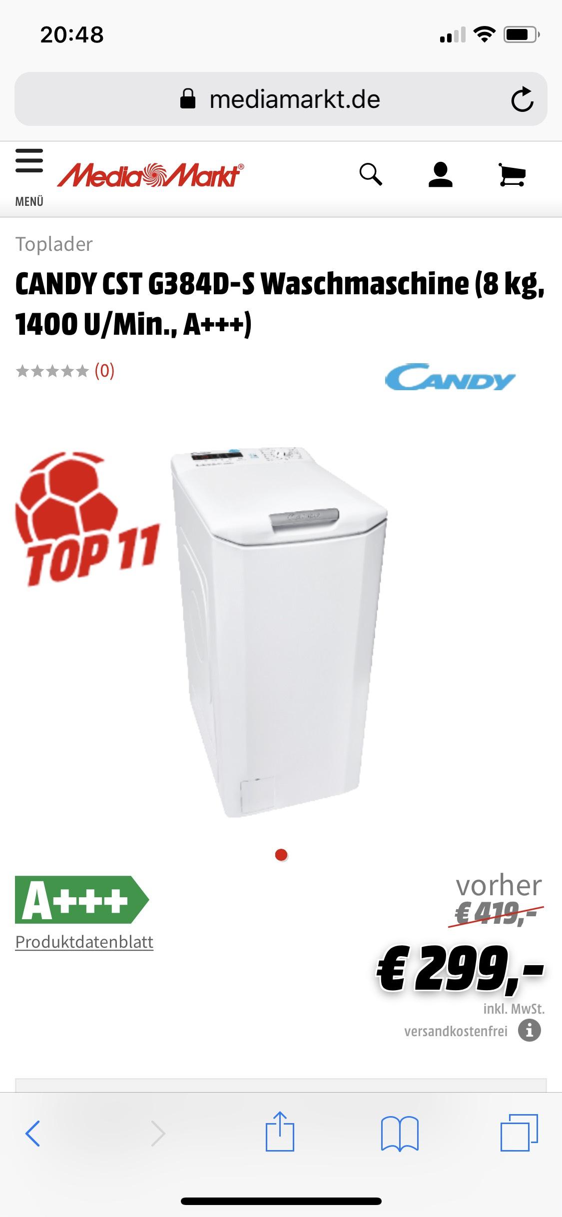 [Media Markt Online] CANDY CST G384D-S Toplader Waschmaschine (8 kg, 1400 U/Min., A+++)