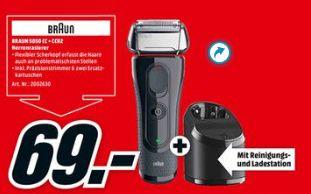 [Mediamarkt] BRAUN Series 5 5050cc Elektrorasierer Limitierte Auflage mit Clean&Charge-Station Rasierer Schwarz/Rot (FlexMotionTec) für 69,-€