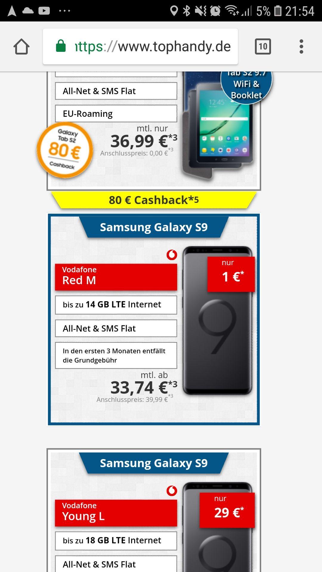 Vodafone Red M mit Galaxy S9