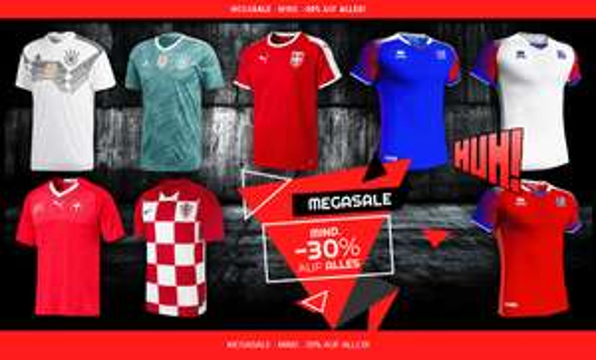 Update: Aktuell sogar 33 % !! geomix Soccer Store MEGASALE - MIND. -30% AUF ALLES! - gute Preise für neue Trikots  & sonstige Fanwear