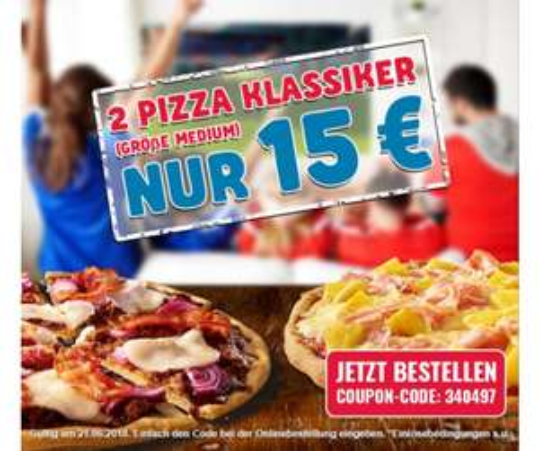2 Pizza Klassiker (Medium) nur 15€ | Dominos