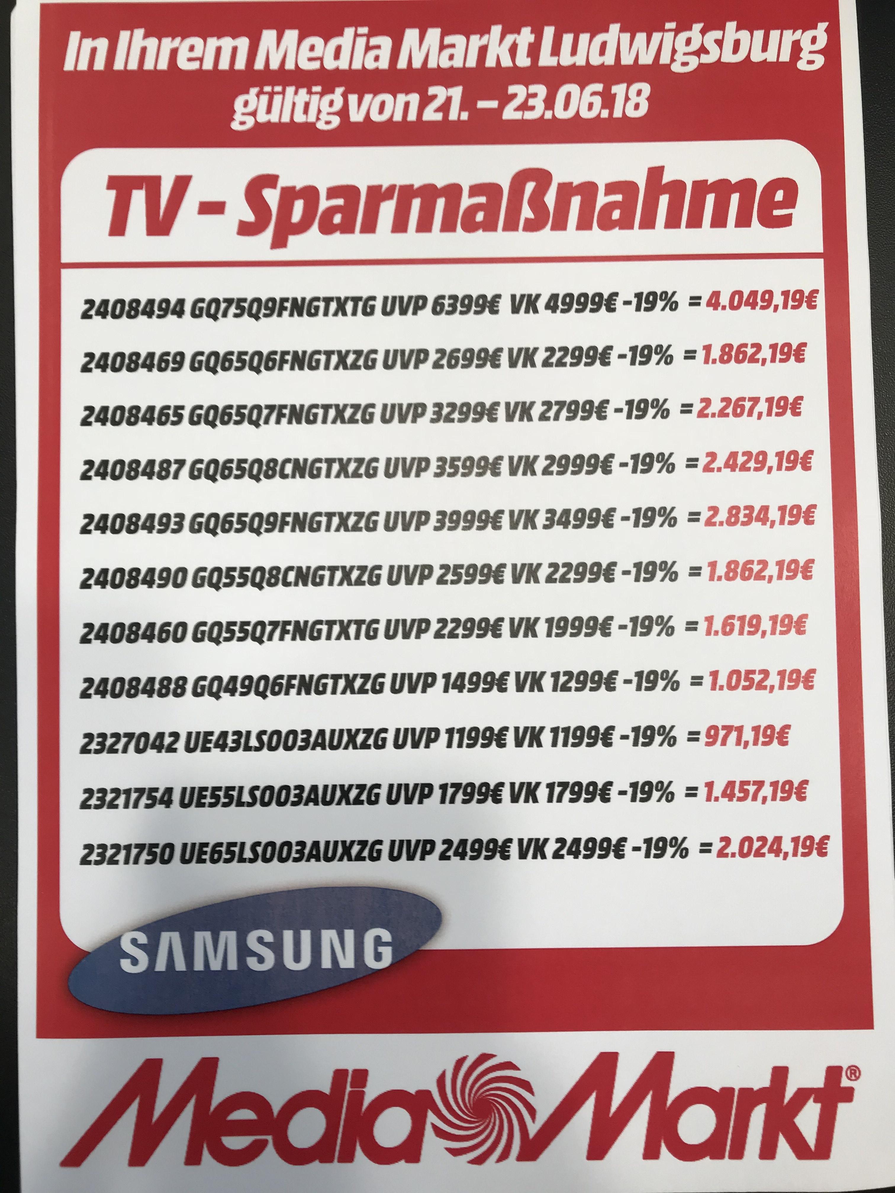 Samsung alle Q-LED + Frame 19% Rabatt, Lokal Media Markt Ludwigsburg