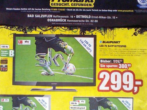 """(lokal) wieder da, Blaupunkt 47"""" LED-TV für 299€"""