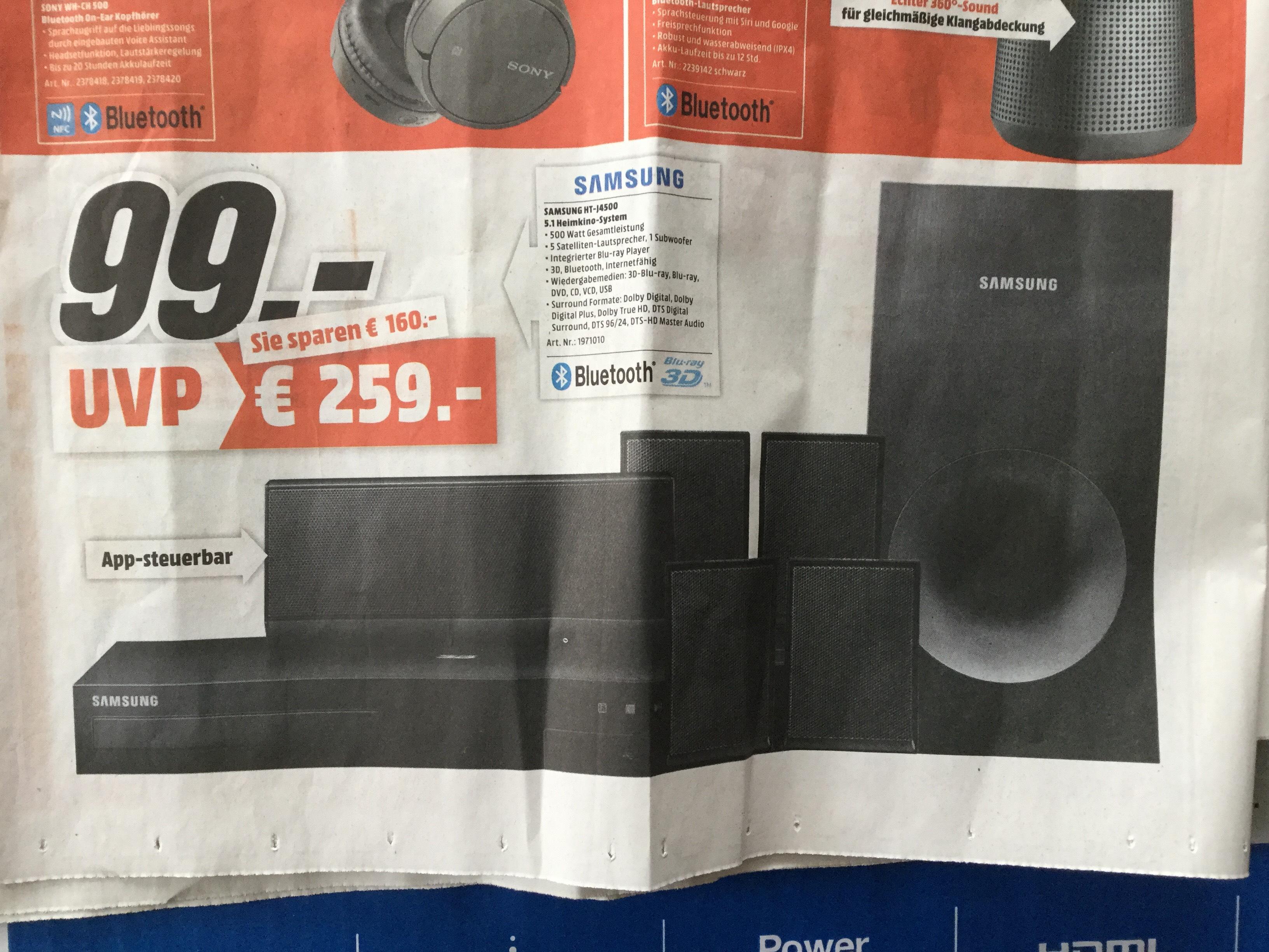 [regional: Mediamarkt Gründau-Lieblos]Samsung HT-J4500 5.1 3D Blu ray Heimkinosystem (500W, Bluetooth,FM Tuner)