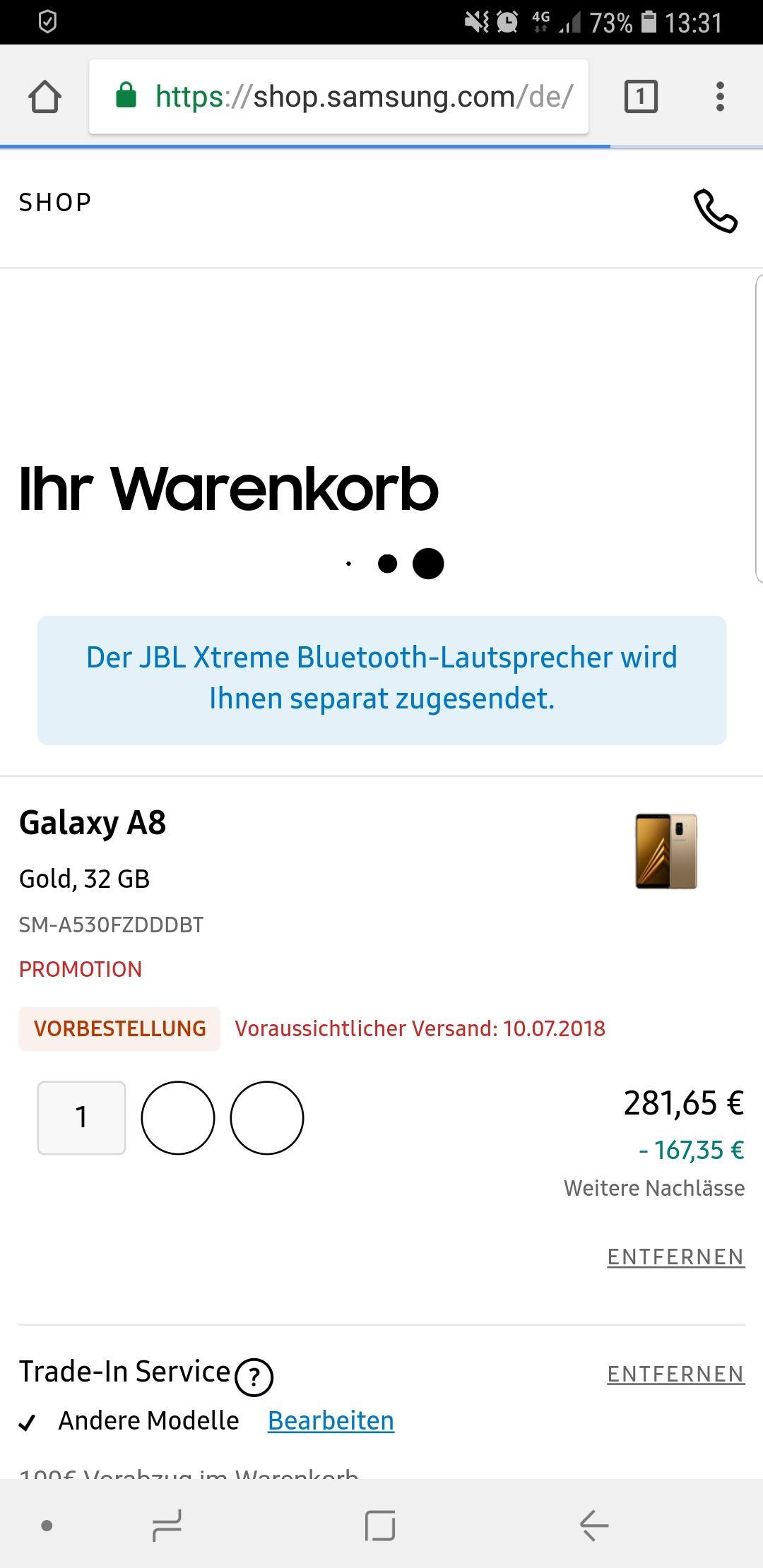Galaxy A8 (2018) + Jbl Extreme BT Speaker vs Altgerät