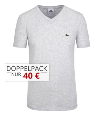 5x Lacoste T-Shirts für 90€ —> 18€ pro T-Shirt inkl. Versand (S-XXXL), 8 Farben (V-Neck & O-Neck) bei Hirmer