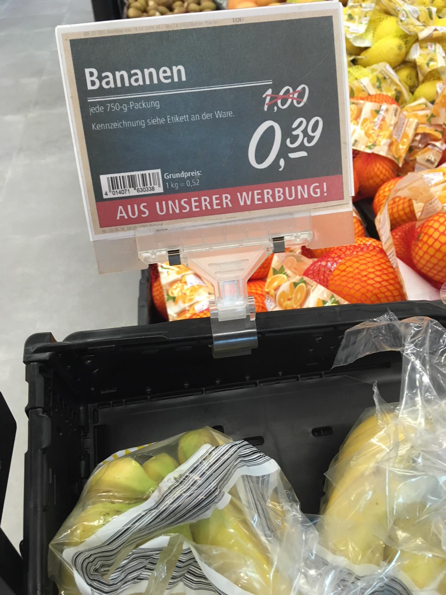 *lokal Braunschweig* real,- Bananen 750 Gr. 0,39 €