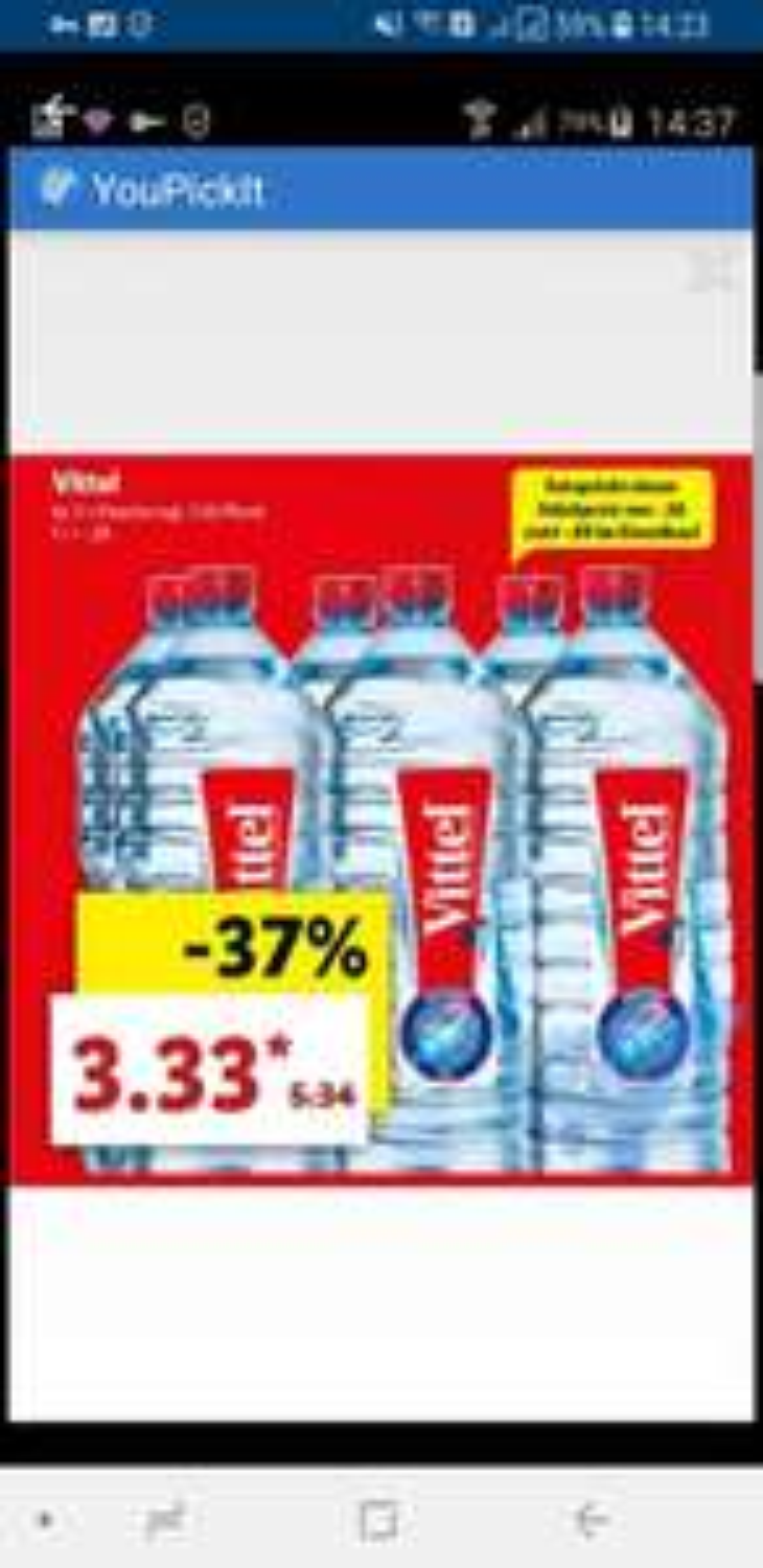 [LIDL] Vittel Wasser 6er Pack 2 Liter für 3.33€ statt5.34