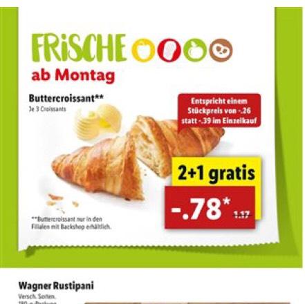 3 Croissants für nur 0,78€ (Lokal)