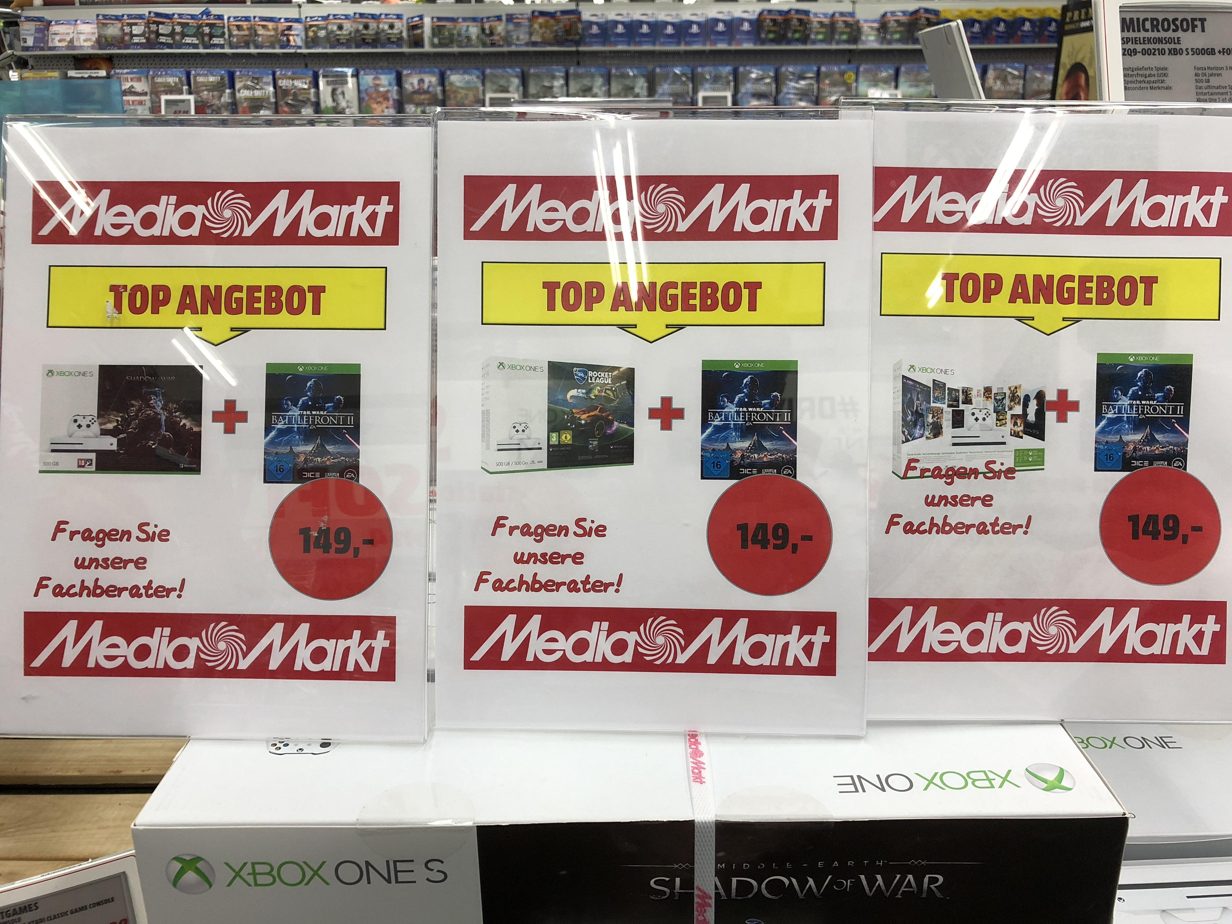 [Lokal] Diverse Xbox One S 500GB Bundle + Star Wars Battlefront 2 MM Dortmund