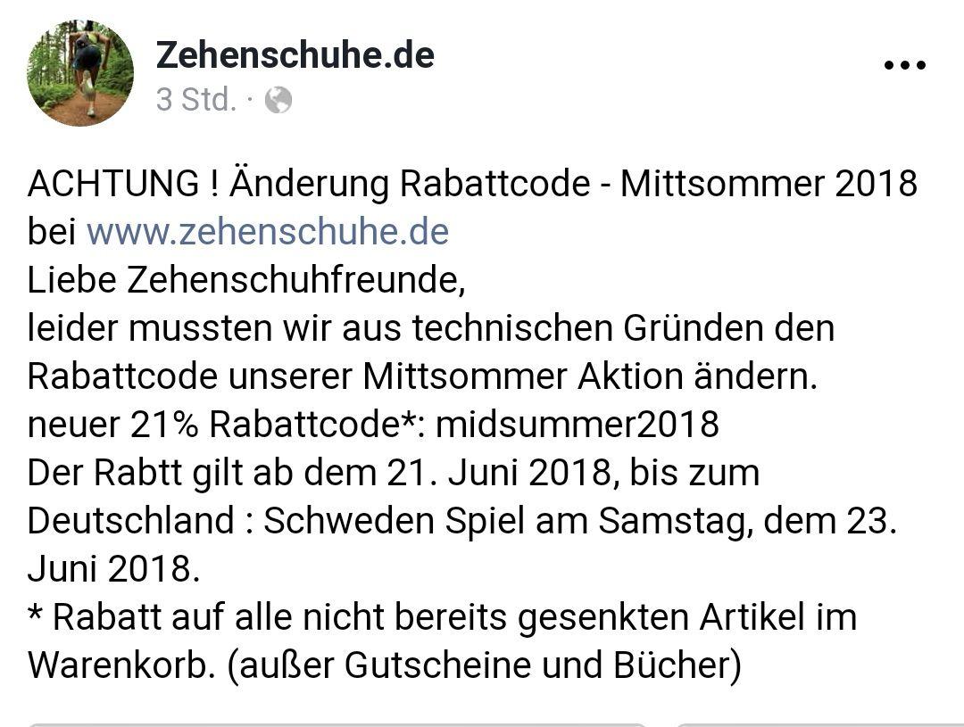 Zehenschuhe.de -21% bis 23.06.2018