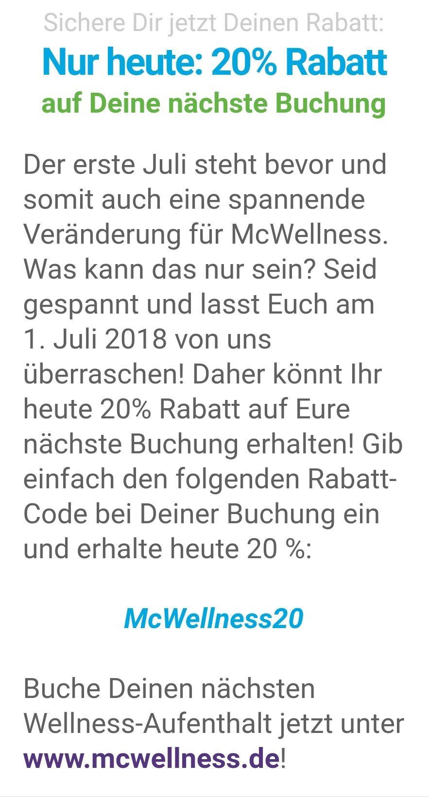 20% Rabatt auf Buchungen bei McWellness in Dortmund + Bochum