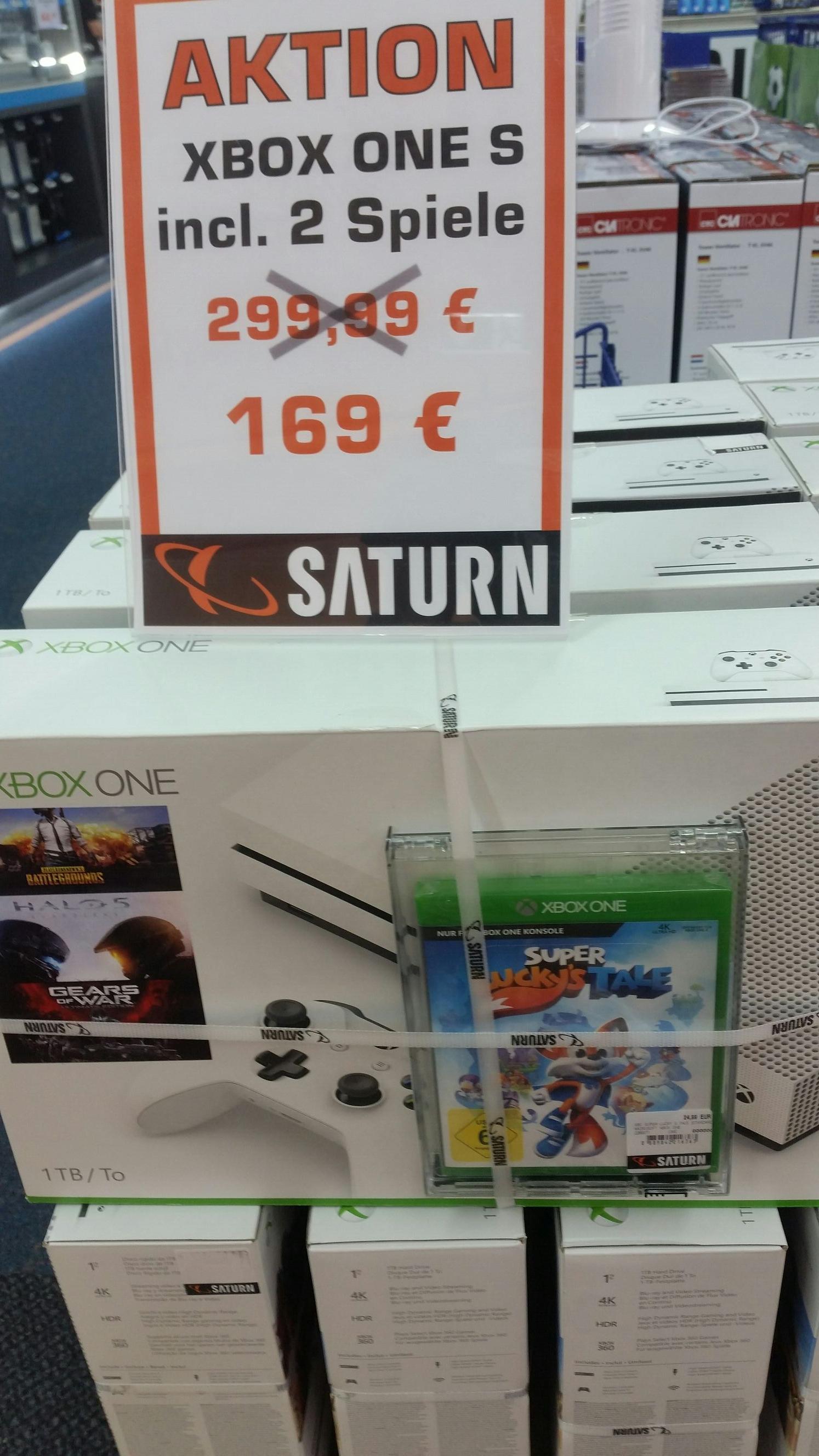[Lokal Saturn Stuttgart] Xbox One S mit 1 TB und 2 Spielen für 169€