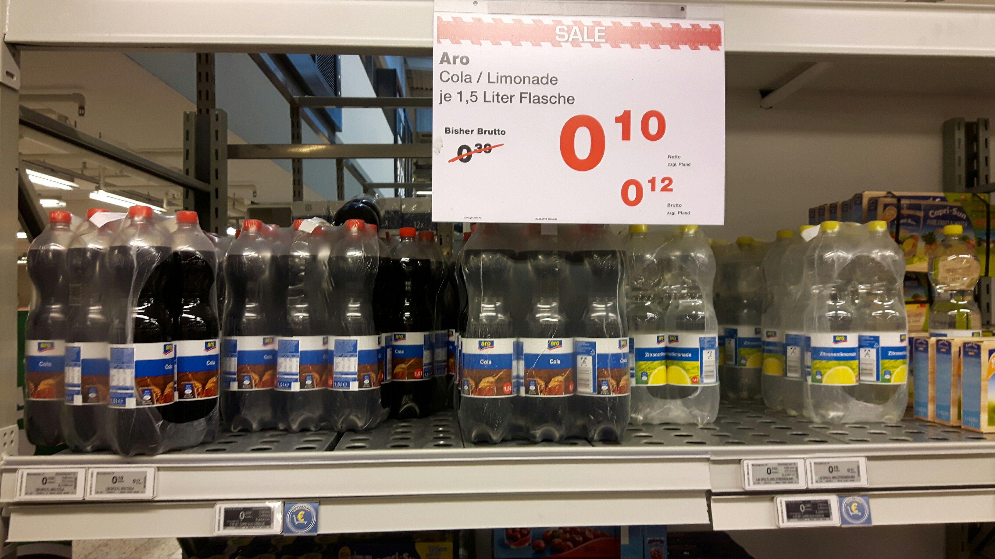 [METRO Düsseldorf] aro klare Zitronenlimo oder aro Cola 1,5l PET-Flasche