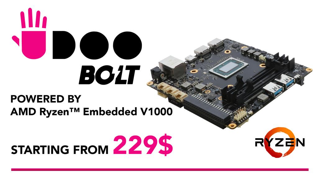 NUC Ersatz, Udoo Bolt AMD Mini PC Plattform (2xHDMI, Arduino Kompatibel uvm.) ab 198€ [KICKSTARTER]
